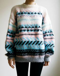 Hand Knitted Ski Sweater Southwestern Tribal Print Oversized.