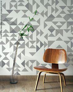 papel de parede geométrico cinza, preto e amarelo - Pesquisa Google