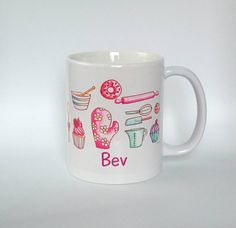 Vintage Baking Mug - Handmade Art, Watercolour Artist Mug. Pink Baking Mug.Donut. Cupcake Mug. Rolling Pin. Quarky Bakers Mug. by SueRocheIllustration on Etsy https://www.etsy.com/listing/253223966/vintage-baking-mug-handmade-art