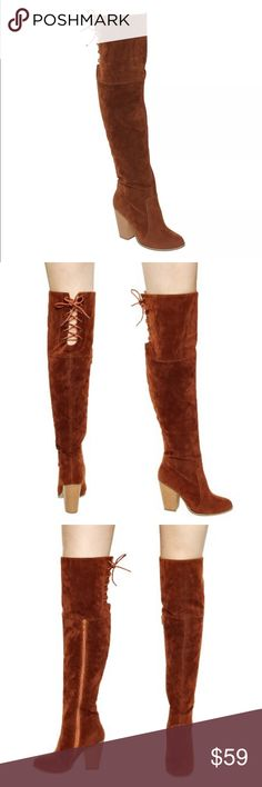 🆕List! Stunning Cognac Suede Knee Boots! NEW! These boots are truly gorgeous!! Vegan cognac suede. Corset behind knee lace up back and 2/3 side zip closure. Shaft height 21 inches. Shaft circumference 15 inches. Heel height 3.75 inches. Size 10. New in box. LC:shsf1/7 Boutique Shoes Over the Knee Boots