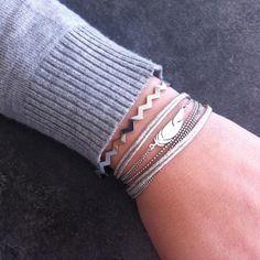 Bracelet jonc zigzag + bracelet plume Zag Bijoux