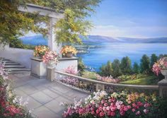 ART~ Romantic Mediterranean~ View From A Private Terrace~ Anca Bulgaru