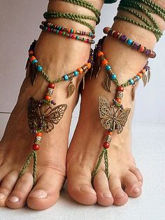 Barefoot sandals with butterfly Boho barefoot, beach jewelry bohemian anklet Hippie style Ankle bracelet Crochet anklet
