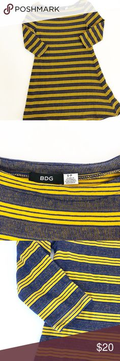 BDG for Urban Outfitters Swing Dress/Tunic Sz S Beautiful blue/gold textured stripe Boatneck style Pit to pit laid flat: 14 in/28 in around with lots of stretch Swingy wider hem at bottom 30 inches long.   Wear as shorter dress or as a tunic with leggings 3/4 length sleeves Excellent condition, no flaws Freshly washed Smoke/Pet Free Really fun! 103538 BDG Dresses Mini