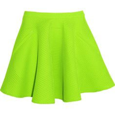 Chalayan Neon mesh skater skirt (£205) ❤ liked on Polyvore featuring skirts, mini skirts, bottoms, saias, faldas, lime green, flared mini skirt, mesh mini skirt, green skirt and lime green mini skirt
