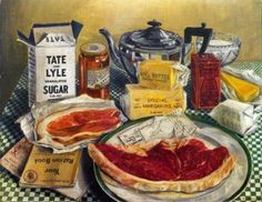 This painting by Leonora Green shows a week's ration for a FAMILY in 1941. Bacon & Ham 4 oz, Meat to the value of 1 shilling and sixpence (about 1/2 lb minced beef), Butter 2 oz, Cheese 2 oz, Margarine 4 oz, Cooking fat 4 oz, Milk 3 pints, Sugar 8 oz, Preserves 1 lb every 2 months, Tea 2 oz, Eggs 1 fresh egg per week, Sweets/Candy 12 oz every 4 weeks, Fish was not rationed, although it became difficult to find. ----via The AWL