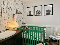Kelly green and black and white puppy dog nursery with dog print wallpaper and art Ikea Baby Room, Baby Room Closet, Nursery Furniture Sets, Baby Room Decor, Painted Furniture, Furniture Ideas, Dog Nursery, Nursery Room, Baby Room Neutral