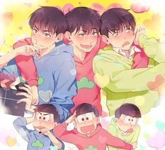 Older matsu trio: wonder what they're getting all flustered about. Anime Love, Anime Guys, Osomatsu San Doujinshi, Ichimatsu, Wattpad, South Park, Tokyo Ghoul, Boruto, Anime Art