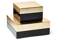 Black and gold boxes from One Kings Lane. Elegant touch to store your paperwork and note cards.