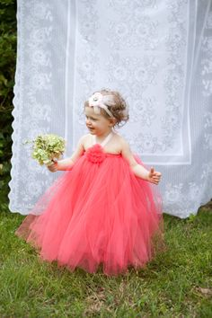 Coral Tutu Dress with tulle flower