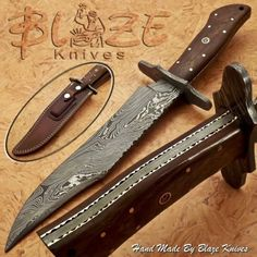 Hand-Made-By-Blaze-Knives-CUSTOM-DAMASCUS-BOWIE-KNIFE-BURL-WOOD-HANDLE-1189