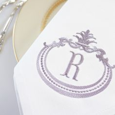 Introducing French Antique Monogram shown in heather thread color.