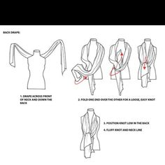 Found this on Pinterest to share - don't know the source - originally from Pernille Dresler - Scarf tying guide #3 - Don't forget to get your free Grab and Go Scarf tying booklet at http://lebeaucou.com/