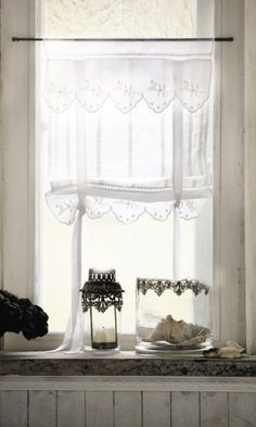 Romantische Gardinen im Landhaus-Stil Lannion, 2er-Set: Amazon.de: Küche & Haushalt