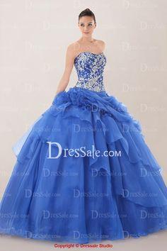 Breath-taking Strapless Quinceanera Dress Featuring Floral Applique and Tiered Ruffles