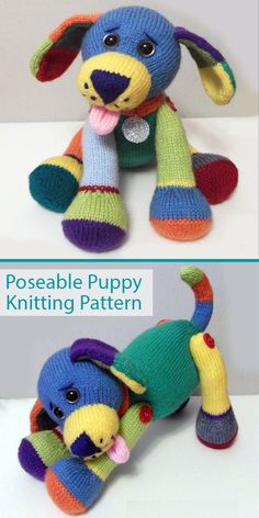 Knitting Pattern for Jacob the Poseable Puppy - Adorable puppy dog toy softie with a multi-colored coat. He is completely poseable having legs and head which can be turned into# Buster Baby Knitting Patterns, Knitted Doll Patterns, Crochet Animal Patterns, Stuffed Animal Patterns, Free Knitting, Knitting Toys, Knitted Dolls Free, Crochet Toys, Knit Crochet