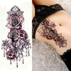 Purple Rose Tattoo # lila # Tattoo # Make-up # Schönheit # Hautpflege - Tattoo Sleeve - Natural Playground Ideas - DIY Living Room Ideas - Underlights Hair - Art Deco Engagement Ring Lila Tattoo, Mädchen Tattoo, Fake Tattoo, Tattoo Son, Tattoo Roses, Tattoo Neck, Lace Flower Tattoos, Jewel Tattoo, Butterfly Tattoos