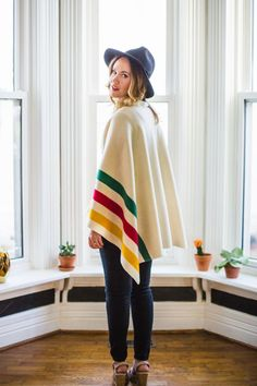 No sew Hudson Bay blanket sweater from A Beautiful Mess