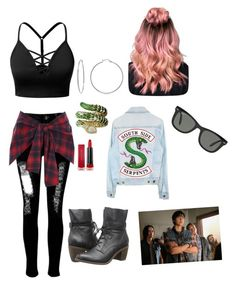 """""""Sweet Pea's girl"""" by maddiebug2019 ❤ liked on Polyvore featuring J.TOMSON, WithChic, Max Factor, Steve Madden, Evie & Emma, Ray-Ban, Episode and River Island"""