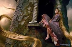 """Taylor Swift as Rapunzel sits alone on the window ledge of her tower, her hair flowing around her. The Disney Dream Portrait caption reads: """"Where a world of adventure awaits."""""""