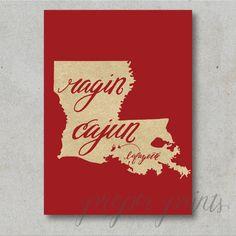 Ragin Cajun Louisiana State Print ULL by ProperPrintsPaper