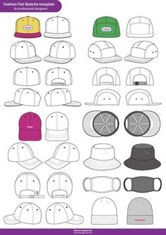 Hat Cap Snapback set Fashion flat technical drawing vector template (PRO ver.)