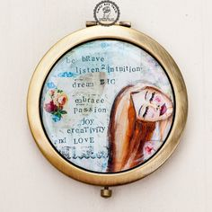Purse Mirror with Painting Be Brave Motivational by LadyArtTalk