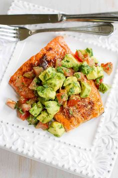Roasted Salmon with Avocados Salsa
