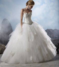 Amazing 2015 Sweetheart Bead Bodice Ball Wedding Dresses Bridal Formal Gown New