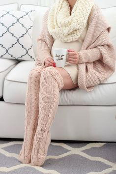 Multitextured nude knit OTK stockings, nude cardigan, cream  mini dress & infinity scarf, red nails
