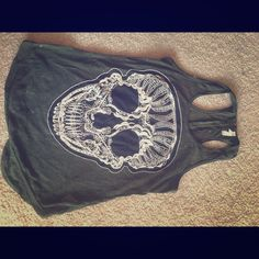 Xhilaration  skull tank S Green skull embroidered tank with zipper detail on back Xhilaration Tops Tank Tops