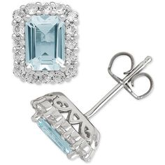 Aquamarine (1-3/4 ct. t.w.) & White Topaz (3/4 ct. t.w.) Stud Earrings... ($113) ❤ liked on Polyvore featuring jewelry, earrings, light blue, light blue earrings, emerald cut earrings, round earrings, sterling silver stud earrings and aquamarine jewelry