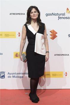 Festival de Malaga 2015. Silvia Marso vestido LeSmoking solapa blanca coleccion Primavera/Verano