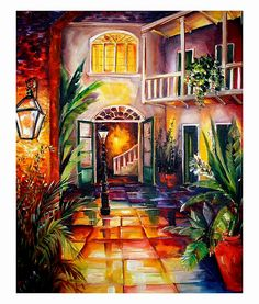 A Courtyard in New Orleans by Diane Millsap: The old hotel I used to manage; the Lamothe House