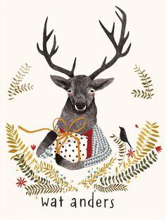 spot Lieke van der Vorst. illustration, words, deer, woodland, bird, animal, floral, frame