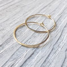 Gold Hoop Earrings Medium Gold Filled Round Hoops by ArtistiKat