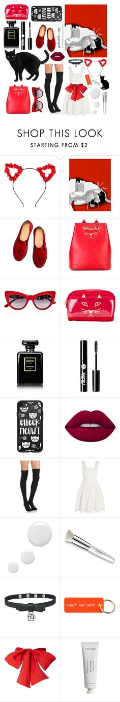 """Black, White, and Red (with cats)"" by pandashipper1227 ❤ liked on Polyvore featuring claire's, Charlotte Olympia, Dolce&Gabbana, Chanel, Charlotte Russe, Casetify, Lime Crime, Plush, Maje and Topshop"