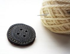 hand-made leather button -- perfect use for scraps