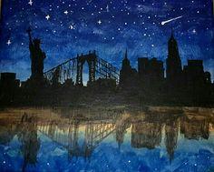 New York Siluette Blue Dark Darkblue Stars Acrylic Paint painting Artwork Art beautiful Inspiration Brush