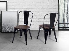 Simple Stoer en industrieel deze apollo stoel in zwart metaal met hout Shop op beliani