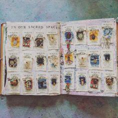 Mixed Media Art, Art Journals and Mini Prayer Flags by Karen Michel Kunstjournal Inspiration, Art Journal Inspiration, Fabric Journals, Art Journals, Art Doodle, Magic Charms, Little Prayer, Flag Pins, Prayer Flags
