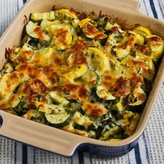 Recipe for Easy Cheesy Zucchini Bake (Low-Carb, Gluten-Free) [from KalynsKitchen.com]