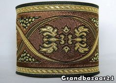 ~1m BROWN/METALLIC GOLD JACQUARD RIBBON*MEDIEVAL**RENAISSANCE*70mm