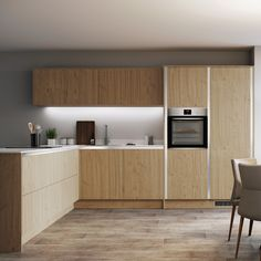 Our Greenwich Natural Oak Handleless kitchen doors make it easy to create a handleless kitchen cabinets design. Pick from a selection of decorative kitchen cabinet trims, which can be fitted underneath work areas or next to kitchen tower units for a simple, linear kitchen design. Pair these oak kitchen cabinets with wooden flooring to offer symmetry to a room. Keep counters pared-back by choosing a thinner construction for a clean and uncluttered look, perfect for small kitchen organisation. Kitchen Cabinets Trim, Kitchen Units, Wooden Cabinets, Kitchen Doors, Wooden Kitchen, Shaker Style Doors, Shaker Style Kitchens, Home Kitchens, Fitted Kitchens
