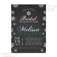 Winter bday invite instead with blue and red font