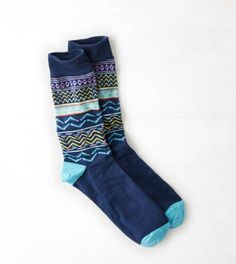 AEO Geo Crew Socks, Turquoise | American Eagle Outfitters