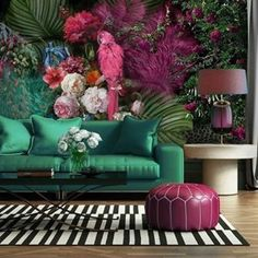 Parrot Wallpaper Floral Wall Mural Colorful Peony Flower Wall Print Tropcai Home Decor Cafe Design Living Room Room Colors, House Colors, Paint Colors, Parrot Wallpaper, Tropical Wallpaper, Black Wallpaper, Wall Wallpaper, Wallpaper Direct, Bathroom Wallpaper