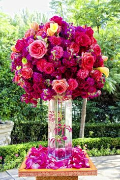 Gorgeous Pink Purple Reception Wedding Flowers Decor Flower Centerpiece Arrangement Add Pic Source On Comment And We Will