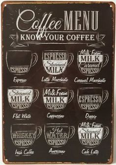 """Coffee Menu Express Cafe Latte Retro Vintage Tin Sign 12"""" X 8"""" Inches, a Two-side Postcard Included #LGLimitlessDesign & #Contest"""