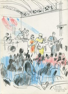 CATALINA: Amadou et Mariam Openair concert. Pencil sketches on location at the Palmengarten, Frankfurt.